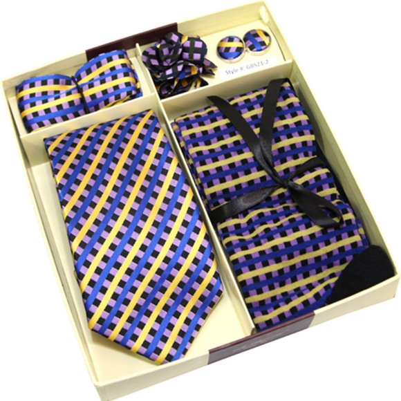 5 Pc Matching Neck Tie Sock Handkerchief Boutonniere CuffLink Mens Gift Set